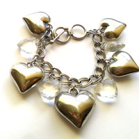 Vintage Heart Charm Bracelet Puffy Silver Tone Acrylic Faceted Crystal Oversized Toggle Valentines Day Gift Romantic