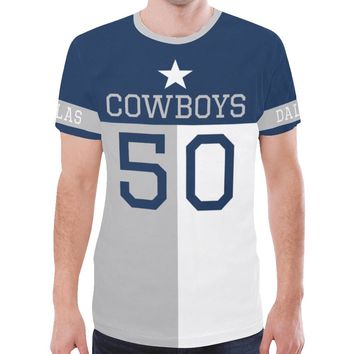 Dallas Football #50 State of Texas Flag Men's Mesh Jersey T-Shirt