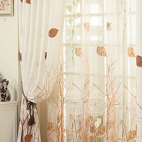 Decorative Modern Autumn Leaf Tree Branch with Window Sheer