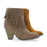 Western Slip On Stacked Block Heel Fringe Ankle Boots