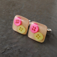 Bright Button Cufflinks, Pink & Yellow Buttons in Cream Resin Cabochons, Resin Jewelry, Button Jewelry, Upcycled Recycled Repurposed
