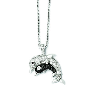 Cheryl M Sterling Silver CZ & Rhodium Dolphins 18in. Necklace QCM875