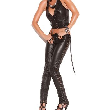 Leather halter top with lace up front Leather back Black