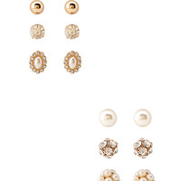 FOREVER 21 Classic Femme Stud Set Gold/Cream One
