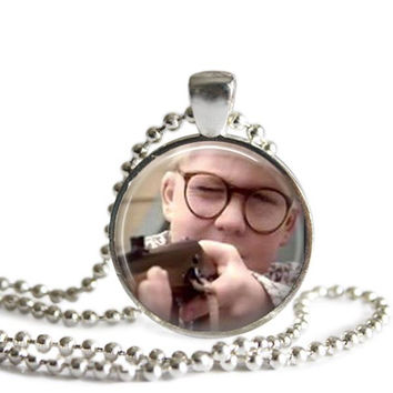 A Christmas Story Necklace Silver Plated Picture Pendant You'll Shoot Your Eye Out Kid!