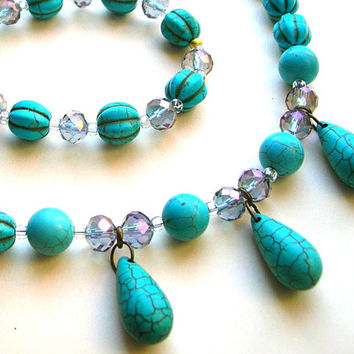 Southwestern Turquoise Howlite Jewelry Set - Necklace - Bracelet - Earrings - Gift for Girlfriend - Present for Mom
