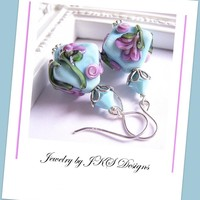 Turquoise Lampwork Earrings, Shabby.. on Luulla