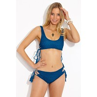 Hunter Crochet Lace Up Sides Bikini Top - Salt Water Blue
