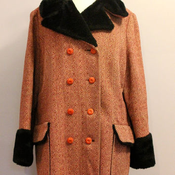 Vintage 70s Coat / Red Tweed and Black Faux Fur / Retro HIppie Boho  / Outerwear / Fall Winter  / 70s Fashion