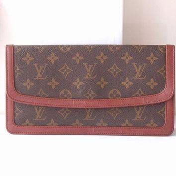 ONETOW Tagre? Louis Vuitton Bag Monogram Clutch Brown Authentic Vintage handbag purse 70s