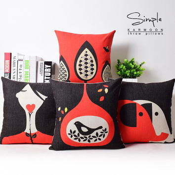 The Nordic appropriate classic red bird tree elephant geometry cotton and linen office hug pillow c ase back cushion cushion No