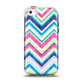The Vibrant Pink & Blue Layered Chevron Pattern Apple iPhone 5c Otterbox Symmetry Case Skin Set