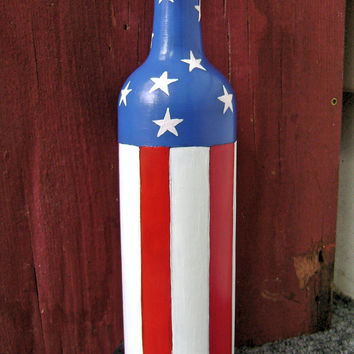 Patriotic Vase: Upcycled & Hand Painted Wine Bottle