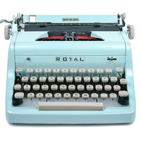 MINT 1955 Light Blue Royal Quiet De Luxe Typewriter, Professionally Serviced, Blue Typewriter, Royal Typewriter, Working Typewriter