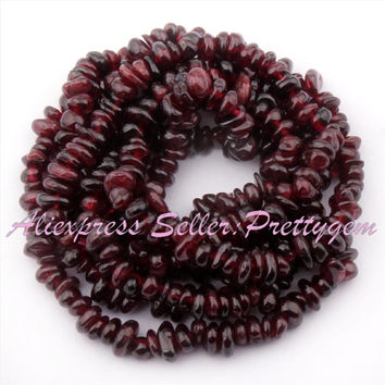"Free Shipping 3x5-5x7mm Freeform Red Garnet Natural Stones For DIY Necklace Bracelet Jewelry Making Spacer Loose Beads 34"" Lot"
