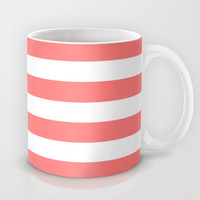 Coral White Stripes Mug by M Studio