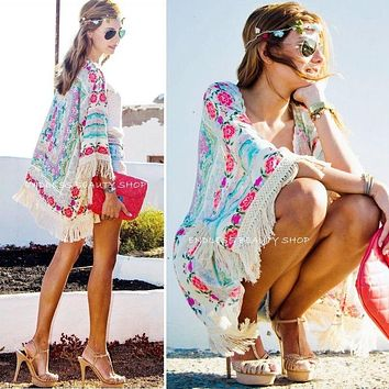 New Fashion Women Boho Fringe Floral Kimono Cardigan Tassels Beach Cover Up Cape Jacket