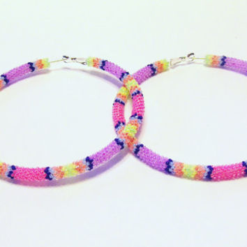 Extra Large Hoop Earrings - Beaded Hoop Earrings - Earrings - Colorful Earrings - Seed Bead Earrings - Large Beaded Earrings - Gifts For Her