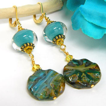 Earrings, Blue Earrings, Dangle Earrings, Short Earrings, Lampwork Glass, Turquoise Beads, Handcrafted Earrings, Blue Gold Earrings