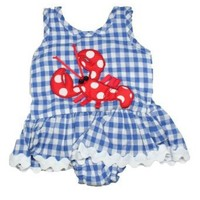 Mud Pie Baby or Toddler Girls One Piece Little Pincher Swimsuit Bathing Suit