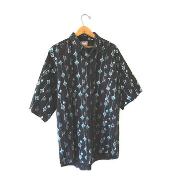 Vintage 90's GEO Diamond Graphic Grunge Dad Summer 'Reactor' Short Sleeve Button Down Shirt Sz XL