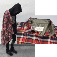 NEW justin bieber FEAR OF GOD flannel Scotland grid long sleeve shirts Hiphop extended curved hem oversized Men Cotton shirt