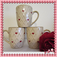 BUY 2 Get 1 FREE Vintage Drinkware Hand Painted by ME  Home Essentials Coffee Mugs-Hand Painted Hearts Kitchen & Dining-Great Gift Idea