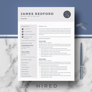 Professional Resume Template | Resume, CV Templates for Word | Resume + Cover Letter + References + Resume Writing guide | Instant Download