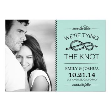 TYING THE KNOT SAVE THE DATE | MINT & BLACK CUSTOM INVITATION from Zazzle.com