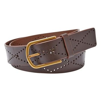 Women's Fossil Diamond Perforated Leather Belt,
