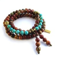 108 Bead Mala Picasso and Turquoise Wrap Bracelet or Necklace