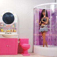 Barbie Size Dollhouse Furniture Bathroom w. Shower Toilet Table Bathtub Play Set