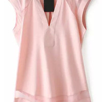 Pink V Neck Mesh Sleeveless Blouse