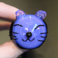 Kitty Cat Face Pink Slyme Cobalt design Hand Blown Glass Pipe