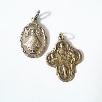 Vintage Catholic Pendants | Immaculate Mary | Ruega Por Nosotros | Sacred Heart | Religious Jewelry | Catholic Symbols | Catholic Symbols