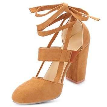 7bc277cdee94 Pointed Toe Lace-up Chunky Heel Shoes Women Sandals