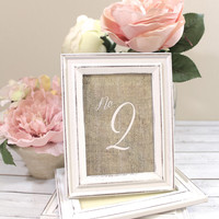 Burlap Table Numbers with Rustic Shabby Chic Wedding Frames