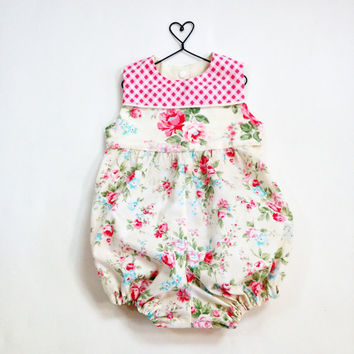 12 month girls romper baby romper floral summer romper bubble romper 100% cotton princess rose fabric pink floral romper ready to ship
