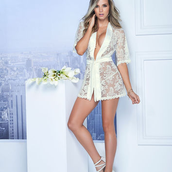 Sexy Short Lace Robe Colombian Lingerie