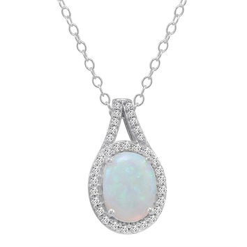 Oval Shape Created Opal and White Sapphire Pendant-Necklace in Sterling Silver