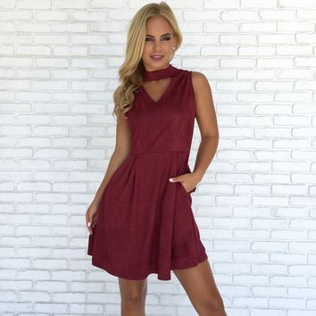 Autumn Leaves Suede Skater Dress in Burgundy