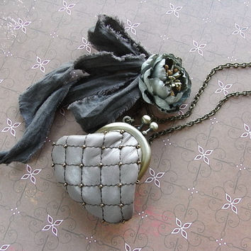mini purse necklace - grayish mauve, antique blue, brown