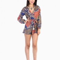 Wild Floral Print Romper - Blue / Orange