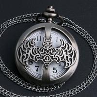 Dark Gray Steampunk Titanium Steel Batman Pocket Watch Necklace