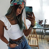 Candy Color Off Shoulder Sleeveless Crop Top