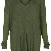 Fine Gauge V neck Tunic - Khaki