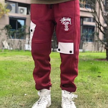 Stussy Fashionable Women Men Classic Embroidery Sport Pants Trousers Sweatpants Red