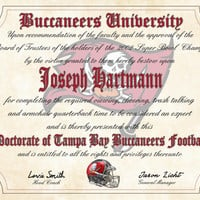 """Tampa Bay Buccaneers Ultimate Football Fan Personalized Diploma - Perfect Gift - 8.5"""" x 11"""" Parchment Paper"""