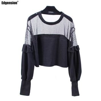 Edgension Fishnet Mesh Short Crop Sweatshirt Women Oversized Tops Sexy Net Front Sheer Back Loose Cropped Sweatsuits Female