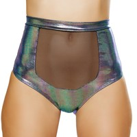 Holographic Front Mesh Panel High Waist Rave Bottoms